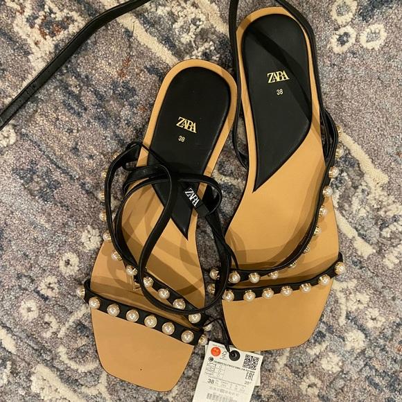 Zara black pearl sandals NWT sz 38